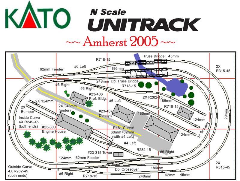 N Kato Unitrack Amherst 2005 Layout Plan Set border=
